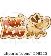Clipart Of A Cartoon Walk The Dog Design Royalty Free Vector Illustration