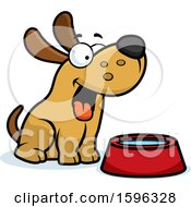 Cartoon Dog Sitting By A Water Bowl