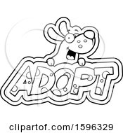 Cartoon Black And White Dog Over Adopt Text