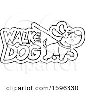 Cartoon Black And White Walk The Dog Design
