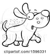 Cartoon Black And White Flea Ridden Dog