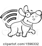 Cartoon Black And White Dog With Microchip Signals