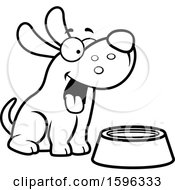Cartoon Black And White Dog Sitting By A Water Bowl