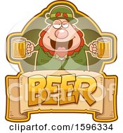 Clipart Of A Chubby Leprechaun Holding Beer Mugs Over A Text Banner Royalty Free Vector Illustration