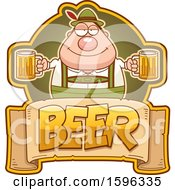 Clipart Of A Chubby Oktoberfest Man Holding Beer Mugs Over A Text Banner Royalty Free Vector Illustration