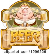 Clipart Of A Chubby Oktoberfest Woman Holding Beer Mugs Over A Text Banner Royalty Free Vector Illustration