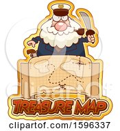 Chubby Sea Captain Holding A Sword Over A Treasure Map