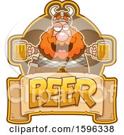 Clipart Of A Chubby Male Viking Holding Beer Mugs Over A Text Banner Royalty Free Vector Illustration