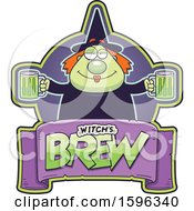 Clipart Of A Chubby Witch Holding Beer Mugs Over A Text Banner Royalty Free Vector Illustration