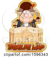 Clipart Of A Pirate Captain Over A Treasure Map Royalty Free Vector Illustration