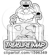 Clipart Of A Black And White Chubby Sea Captain Holding A Sword Over A Treasure Map Royalty Free Vector Illustration