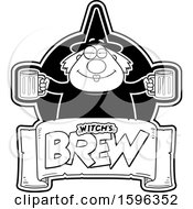 Clipart Of A Black And White Chubby Witch Holding Beer Mugs Over A Text Banner Royalty Free Vector Illustration