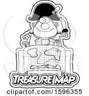 Poster, Art Print Of Black And White Pirate Captain Over A Treasure Map