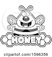 Black And White Bee Over A Honey Text Banner
