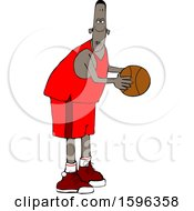 Clipart Of A Cartoon Black Male Basketball Player Royalty Free Vector Illustration