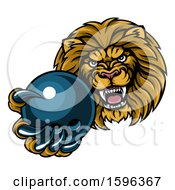 Poster, Art Print Of Tough Lion Monster Mascot Holding Out A Bowling Ball In One Clawed Paw