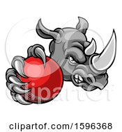 Clipart Of A Tough Rhino Monster Mascot Holding Out A Cricket Ball In One Clawed Paw Royalty Free Vector Illustration by AtStockIllustration