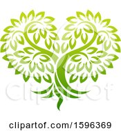 Clipart Of A Gradient Green Heart Shaped Tree Royalty Free Vector Illustration