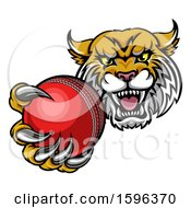 Tough Lynx Monster Mascot Holding Out A Cricket Ball In One Clawed Paw