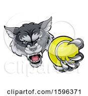 Poster, Art Print Of Tough Wolf Monster Mascot Holding Out A Tennis Ball In One Clawed Paw