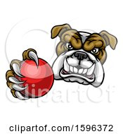 Tough Bulldog Monster Mascot Holding Out A Cricket Ball In One Clawed Paw