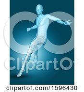Clipart Of A 3d Medical Male Figure Jumping On Blue Royalty Free Illustration
