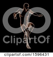 Clipart Of A 3d Medical Male Figure Jumping On Black Royalty Free Illustration