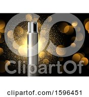 Clipart Of A 3d Perfume Bottle And Gold Flares Royalty Free Vector Illustration