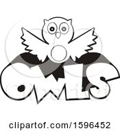 Clipart Of A Black And White Owl School Mascot Over Text Royalty Free Vector Illustration