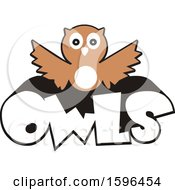 Clipart Of An Owl School Mascot Over Text Royalty Free Vector Illustration