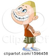 Clipart Of A Blond White Boy With Braces Pretending To Be Innocent Royalty Free Vector Illustration