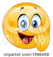 Poster, Art Print Of Yellow Emoji Emoticon Telling A Secret