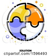 Clipart Of A Jigsaw Puzzle Solution Icon Royalty Free Vector Illustration