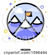 Poster, Art Print Of Mountain Top Flag And Mission Text Icon