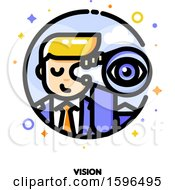 Clipart Of A Businessman Using A Telescope Icon Royalty Free Vector Illustration by elena
