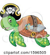 Clipart Of A Pirate Sea Turtle Royalty Free Vector Illustration by visekart