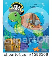Pirate Sea Turtle Over A Sunken Treasure Chest