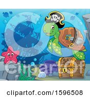 Pirate Sea Turtle Over A Treasure Chest With A Sunken Ship In The Background