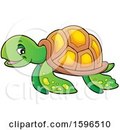 Clipart Of A Sea Turtle Royalty Free Vector Illustration by visekart