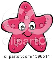 Clipart Of A Happy Pink Starfish Royalty Free Vector Illustration