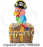 Clipart Of A Pirate Parrot On A Treasure Chest Royalty Free Vector Illustration by visekart