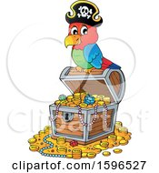 Pirate Parrot On A Treasure Chest