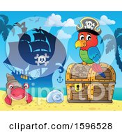 Pirate Parrot On A Treasure Chest On A Beach