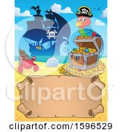 Clipart Of A  Pirate Parrot On A Treasure Chest Over A Scroll Royalty Free Vector Illustration