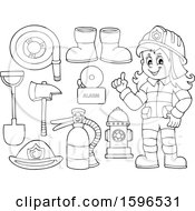 Lineart Fire Woman And Equipment