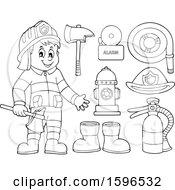 Poster, Art Print Of Lineart Fire Man Holding An Axe And Equipment