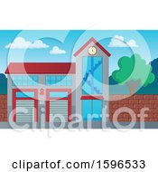 Clipart Of A Fire Department Station Exterior Royalty Free Vector Illustration