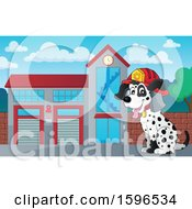 Clipart Of A Fire Fighter Dalmatian Dog At A Station Royalty Free Vector Illustration