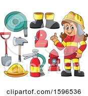 Clipart Of A Cartoon Fire Woman Holding Up A Finger And Equipment Royalty Free Vector Illustration