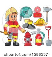 Clipart Of A Fire Man Holding An Axe And Equipment Royalty Free Vector Illustration